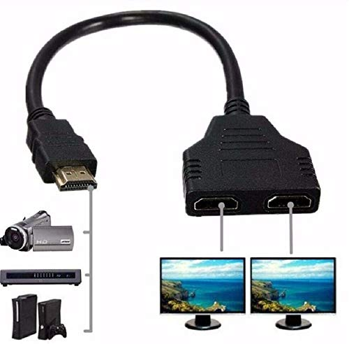 Fpjlokf Câble HDMI Splitter 1080P HDMI mâle vers double HDMI femelle 1 à 2 voies HDMI Splitter câble adaptateur pour HDTV