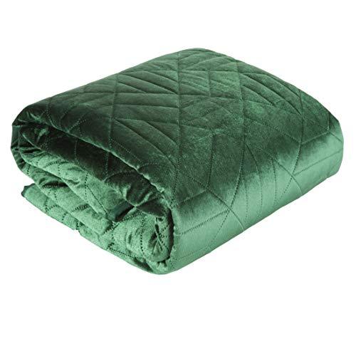 Eurofirany Bedsprei Velvet fluweel sprei gewatteerde deken sprei quilt elegant edel glamour slaapkamer woonkamer logeerkamer lounge, donkergroen, 170X210cm