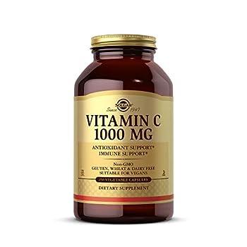 Solgar Vitamin C 1000 mg 250 Vegetable Capsules - Antioxidant & Immune Support - Overall Health - Healthy Skin & Joints - Bioflavonoids Supplement - Non GMO Vegan Gluten Free Kosher - 250 Servings