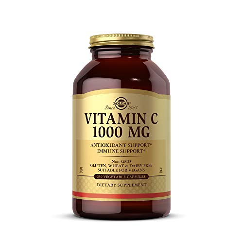 Solgar Vitamin C 1000 mg, 250 Vegetable Capsules - Antioxidant & Immune Support - Overall Health - Healthy Skin & Joints - Bioflavonoids Supplement - Non GMO, Vegan, Gluten Free, Kosher - 250 Servings