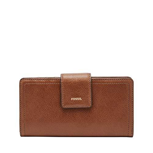 Fossil Women's Logan Faux Leather RFID Tab Clutch Wallet, Brown