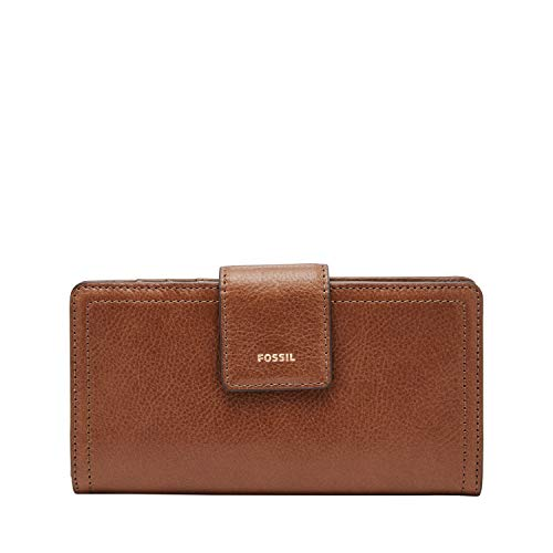 Fossil Women's Logan Faux Leather RFID Tab Clutch Wallet, Brown