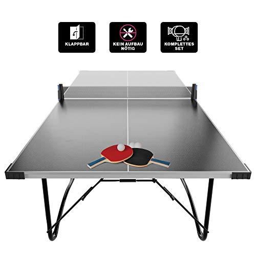Atletica TT200 Tischtennisplatte, 6-Fach beschichtete, 16mm Holzplatte, Turniermaß, wenig Platzbedarf beim geklappten Zustand, vormontiert angeliefert, inkl. Schläger und Bälle, 3J Garantie