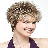 parrucca capelli biondo chiaro taglio pixie scalato Abbastanza corte parrucche per donne bianche sintetici dall'aspetto naturale, corti, stile a caschetto Photo Color,25cm