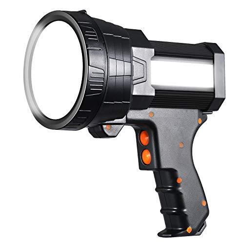 Spotlight Rechargeable Spotlights 6000 Lumen LED Handheld Spotlight for hunting 6 Light Modes IPX4 Marine Boat Light with Large Capacity and USB Funcation 12V Spot Light