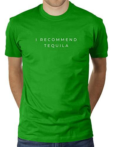 KaterLikoli I Recommend Tequila - Camiseta de manga corta para hombre, diseño con texto en alemán Apple Green M