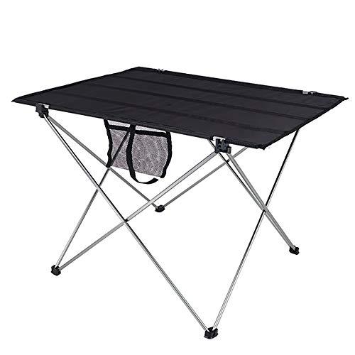 FFSM Campingtafel, camping, outdoor, ultralicht, draagbaar, opvouwbaar, van aluminiumlegering, groot, picknick, grilltafel, vrijetijdstafel, voor picknick, camping, strand, baard 75x55x52cm Zwart