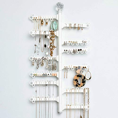 12-Tier 17 Rotating 180° Display Wall Mount - Earrings 120 holes  60 loops Necklaces Rings Bracelets High Capacity Hanging Jewelry Storage Holder Organizer White
