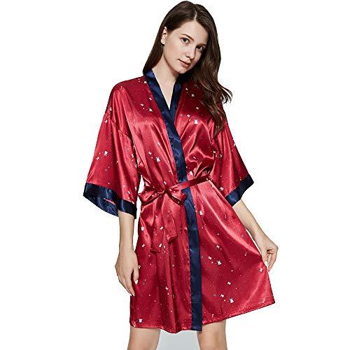 Women's Bride Bridesmaids Robe, satijn bruiloft Kimono Bridal Dressing V-hals Avondjurk nachtkleding,XL