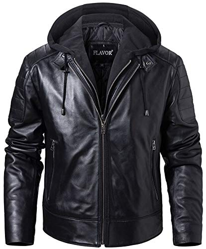 FLAVOR Men's Lambskin Leather Motorcycle Jacket with Removable Hood (Black, XXX-Large)