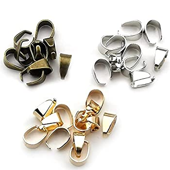 300pcs Mixed 3 Colors Metal Pinch Clip Clasp Bail Finish Necklace Clasps Pendant Clasps Claw Bail,Pendant Clasps Pinch Clip Clasp Bail for Necklace  M148
