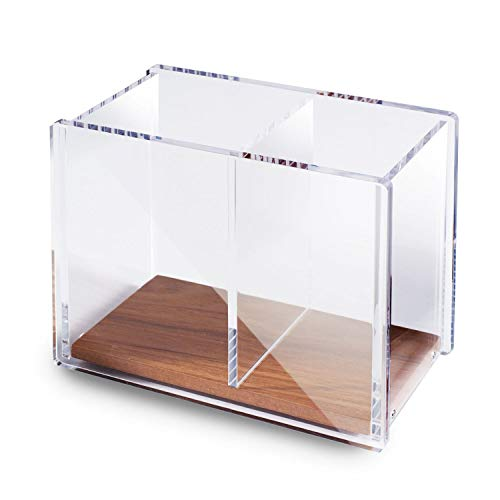 Zodaca Acrylic Pencil Pen Holder Large, [2 Compartments with Wood Base] Acrylic Pen Pencil Brush Holder Large Capacity for Desk Stationery Organizer Desk Accessories, Clear/Brown (4.9 x 4 x 2.9)