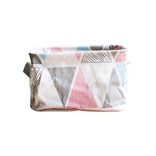 Haodou Geometrische Streifen Muster Baumwolle/Leinen Desktop Organizer Kreativ Haushalt Leinen mit Griff Verschiedene Tuch Umweltfreundlich, Gesund und Langlebig Kosmetik Storage Basket Box (Rosa)
