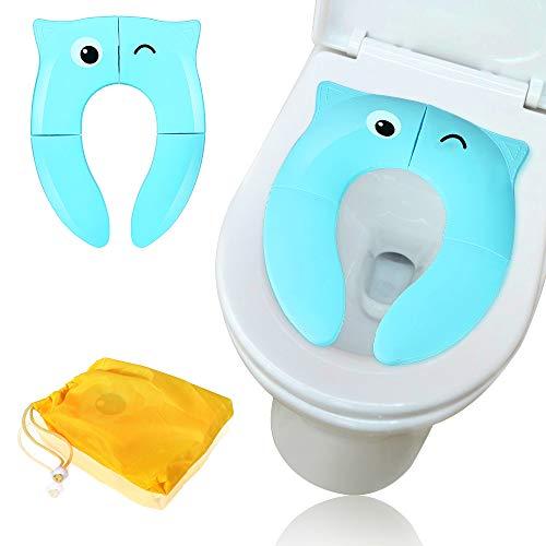 Sooair Riduttore Water WC per Bambini, Portatile Pieghevole Sedile Per WC Materiale in PP, Antiscivolo da Viaggio Vacanze Allenamento del Vasino di Bambini (Blu)