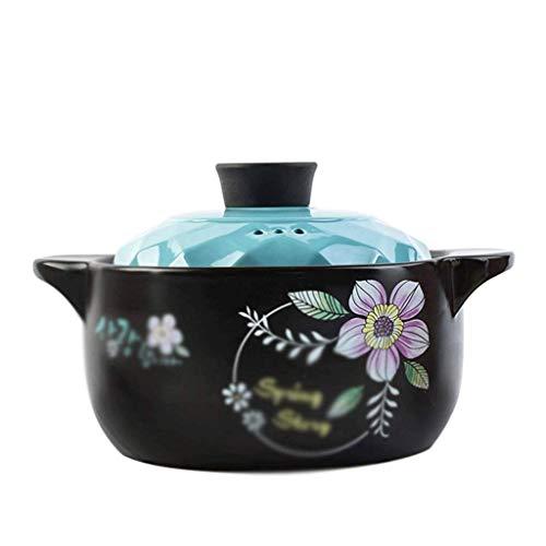 YLJYJ Patrón Cazuela de Plato Negro Redondo de cerámica/Olla de Barro/Olla de Barro/Utensilios de Cocina de cerámica con Tapa Resistente al Calor (Color: B, Tamaño: 27,4 cm * (Exterior)