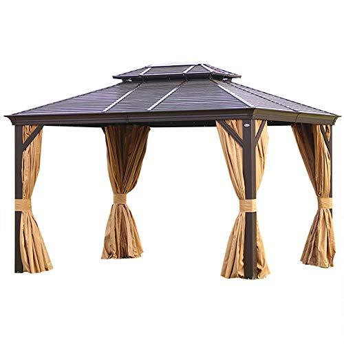 WSN Hardtop-Pavillon mit Doppeldach im Freien, Sonnenschutz, Ganzjahres-Pavillon 4-Jahreszeiten-Außenunterstand für Gartenvilla-Terrassen