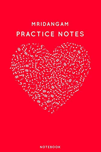 Mridangam Practice Notes: Red Heart Shaped Musical Notes Dancing Notebook for Serious Dance Lovers - 6