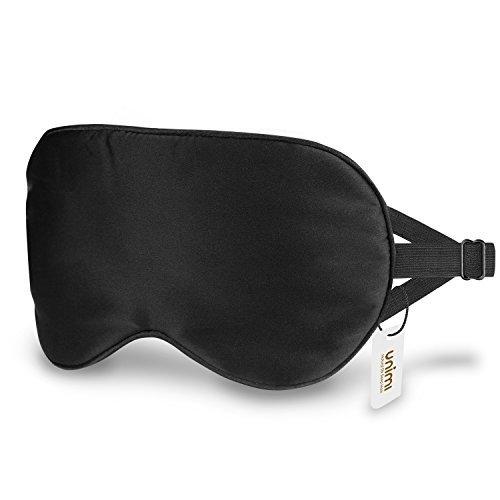 Schlafmaske, Unimi Premium 100% Seide Schlafmaske Frauen und Herren, bequem und freies Bewegen der Augen, 3 verbseerte Riemen blockieren das Licht komplett ¡