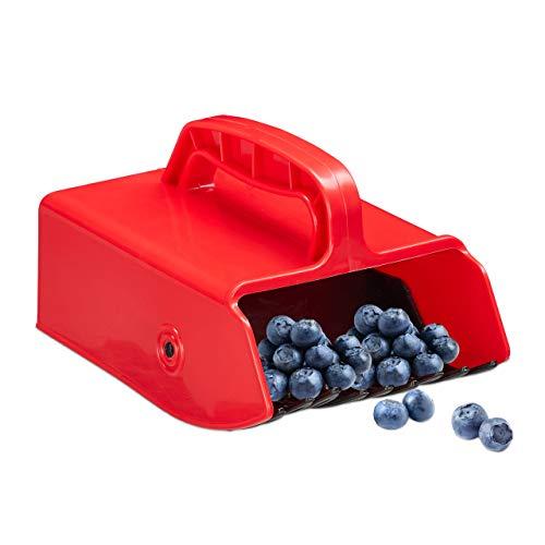 Relaxdays Beerenkamm, Kunststoff, Erntehelfer für Heidelbeeren, Johannisbeeren, Blaubeeren, Beerenpflücker, rot/schwarz