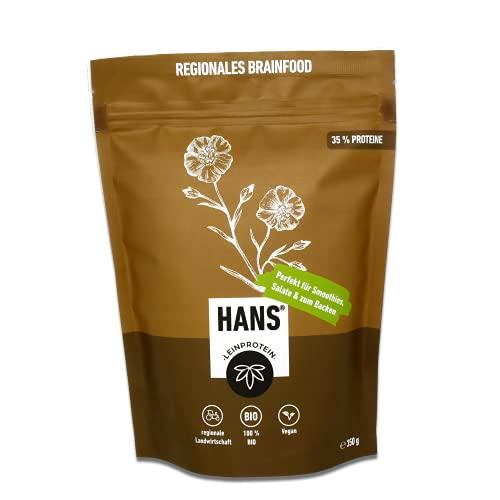 HANS® Vegan Lein-Proteinpulver | Pflanzliches low carb Protein Pulver ohne Zusatzstoffe | Superfood Omega 3 Eiweißpulver für den Muskelaufbau | Bio Leinsamen Mehl – Organic