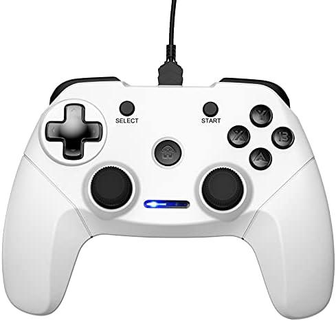 CHEREEKI Manette Filaire pour PC, Wired Gaming Gamepad, Manette du Contrôleur de Jeu Filaire avec Double Vibration pour PC/Windows/PS3/Android