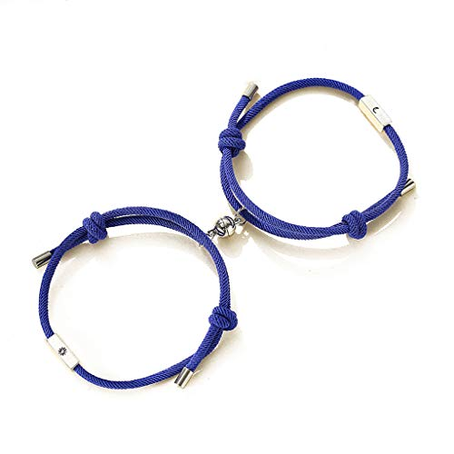 ERUYN 2Pcs Sun and Moon Lover Pareja Kit de Pulsera de Distancia magnética Amantes Joyas Azul Perla