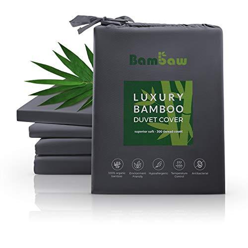 Bambaw Housse De Couette Bambou | Ultra Doux | Drap Housse Couette De Housse Couette Bio | Drap Bambou Antiacarien | Housse Couette Hypoallergénique | Anthracite - 220x240