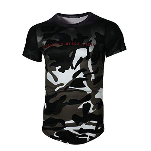 Herren T-Shirt,Männer Sommer Kurzarm T-Shirt Mode Tarnung Patchwork Kurzarmshirt O-Neck Slim Fit Top Oberteile modernes Hemd Bluse Basic Shirt Casual Rundhals Tunika Unterhemd
