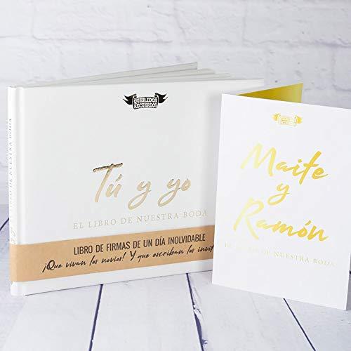 Calledelregalo Regalo de Boda Personalizado: Libro de firmas 'Tú y yo, el Libro de Nuestra Boda' con Tarjeta Personalizada con Nombres y dedicatoria