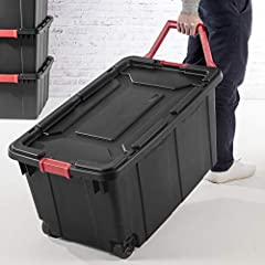 Outside Dimensions: 36.75 x 21.38 x 18 Includes 2 Totes, 2 Lids Made in the USA ; Cube: 11 cu ft / 0.311 cu m Ergonomic handle rotates up for easy pulling Tight fit drip-resistant lid