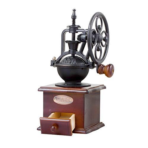 Rrunzfon Manuelle Kaffeemühle Haus geformt Mini-Kurbel Kaffeemühle Eisen Kartentyp Vintage-Stil aus Holz Kaffeemühle Zubehör Schwarz 1Set