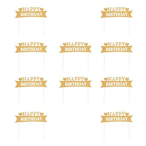 Amosfun Happy Birthday Glitter Taart Topper DIY Taartdecoratie voor Feestartikelen 10 stuks Medium Goud