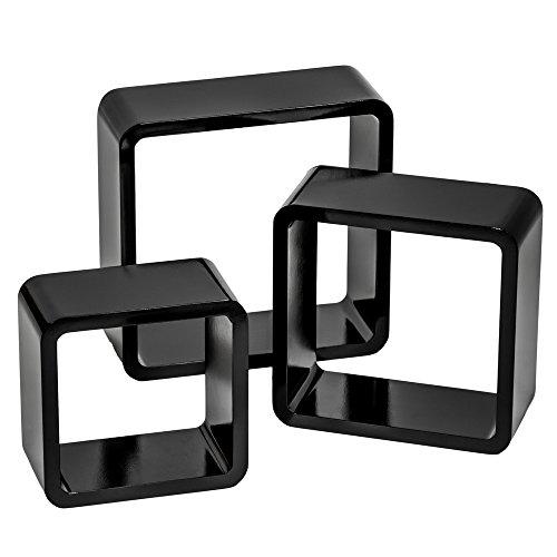 TecTake 800703 3 Etagères murales Design Cube de Rangement en Bois, pour des Livres, CDs et de la décoration, Matériel de Montage Inclus - Plusieurs Couleurs - (Noir | no. 403181)