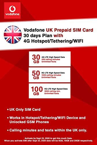 UK Vodafone 30GB 4G LTE High Speed Data! Prepaid SIM Card with...