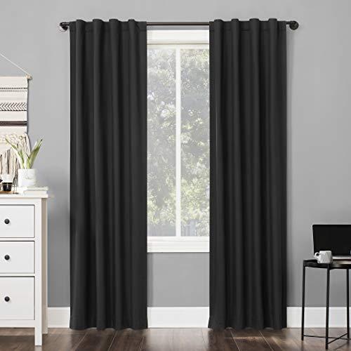 "96""x40"" Cyrus Thermal 100% Blackout Back Tab Curtain Panel Charcoal - Sun Zero"