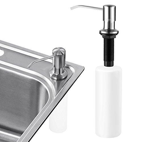Sink Soap Dispenser, Cozzine Stainless Steel Kitchen Sink Countertop Soap Dispenser Built in Hand Soap Dispenser Pump, 17 OZ Bottle 3.15 Inch Threaded Tube for Thick Deck Installation, Brushed Finish