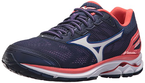 Mizuno Women's Wave Rider 21 Running Shoe Athletic Shoe, patriot blue/white, 6 B US