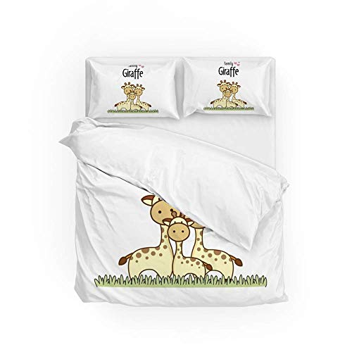 161 Soft Quilt Bedding Set Giraffe Family Duvet Cover with 2 Pillowcases Set 3 PCS 260 x 220 CM, Super King