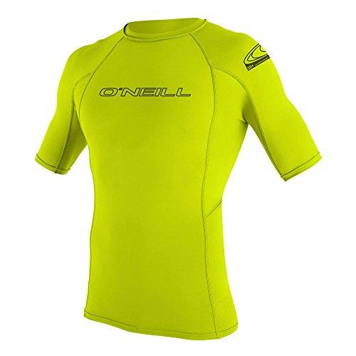 Oneill Wetsuits - O 'Neill Wetsuits Basic Skins S/S Crew - T-Shirt aus Polyester für Herren, mit UV-Schutz, 187 Gelbgrün, X-Small