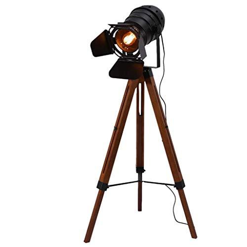 GLXLSBZ Lámpara de pie de trípode de Madera Vintage Lámparas de pie de cámara de Metal Industrial Teatre náutico Proyector Retro Accesorios de películas de Cine Luces de pie Altas de Madera