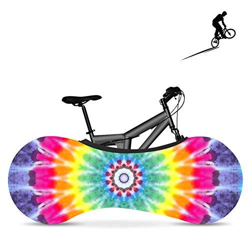 BDYD Fahrradradabdeckung, Fahrradabdeckung, staubdichte elastische Innenabdeckung, waschbar für die meisten Fahrradaufbewahrungsbeutel-Schutzabdeckungen,Rainbow7