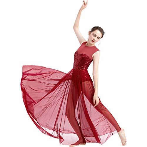 FYMNSI Damen Lyrisch Tanz Kleid Ärmellos Pailletten Schlitz Tüll Maxikleid Lyrische Modern Contemporary Tanzkostüm Trikot Latein Ballett Tüllkleider Ballettanzug Weinrot XS