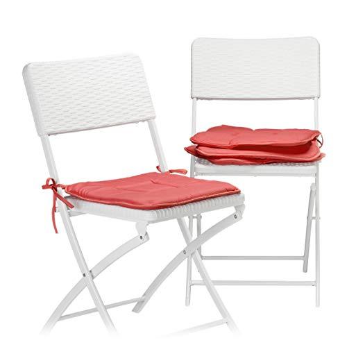 Relaxdays Polyester, rot Stuhlkissen 4er Set, Sitzkissen mit Schleife, Auflage für Stühle in Haus und Garten, waschbar, Stuhlauflage, 2 x 38 x 38 cm