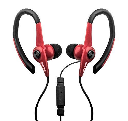 Elbe AU-107-MIC - Auriculares Deportivos con micrófono, Color Negro y Rojo