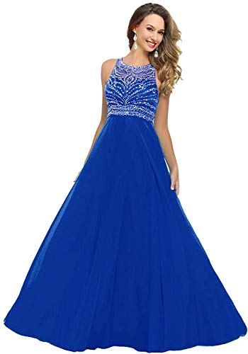 Unbranded* Stunning A-line Scoop Long Chiffon Prom Dress Evening Gown with Beading