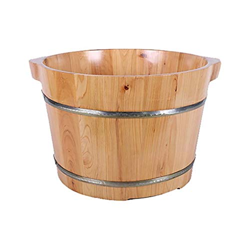 New Foot Bath Barrel Solid Wood Natural Thicken Foot Basin Wooden Bucket Foot Spa Tub Household Sleep, Improve (Color : A)