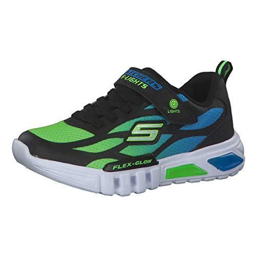 Skechers Flex-Glow, Sneaker, Nero (Black Synthetic/Textile/Blue & Lime Trim Bblm), 32 EU