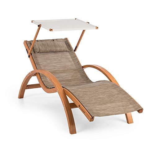 blumfeldt Acapulco - Gartenliege, Liegestuhl, Sonnenliege mit Dach, Sonnendach, ComfortMesh, Kiefernholz, ergonomisch, 150kg max, wetterfest, drinnen und draußen, inkl. Kopfkissen, beige