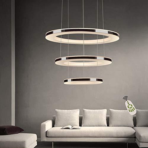 ZMH Moderne LED Pendelleuchte esstisch 43W Led 3-Ring led dimmbar Fernbedienung Hängeleuchte Wohnzimmer Deckenleuchte Schlafzimmer Höhenverstehbar Hängelampe Kronleuchter