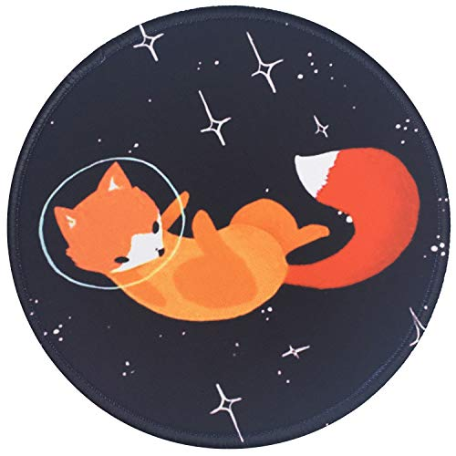 Mouse Pad, Cute Sweet Fox Pattern Mouse Mat, Non-Slip Rubber Base Mousepad with Stitched Edge, Waterproof Office Mouse Pad, Gaming Mousepad, Black Mouse Pad, Small Size in 7.87 x 7.87 x 0.12 Inch